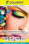 Colorite Dual Side 230 Gsm 4r (4in X 6in/ Maxi) /100 Sheets Inkjet High Glossy Photo Paper - Both Sides Printable
