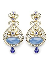 Blue Stone & White Stone Gold Plated Dangle Earrings