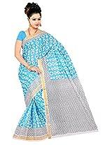Parichay Women's Kerala Cotton Saree(Sky Blue, White)