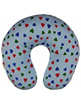 Babyoye U shaped neck pillow - heart print - blue