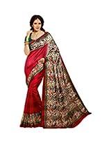 Brijraj Red Multi Bhagalpuri silk Beautifull Printed Saree Wih Unstitch Blouse