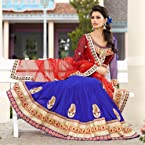 Blue and Red Satin Lehenga