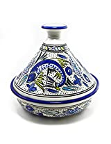 Le Souk Ceramique Serving Tagine, Aqua Fish Design