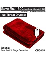 Healthgenie Red Electric Blanket DOUBLE Bed OVER , 10 Stage Temp Controller, 180×130 cms OBD 305 washable