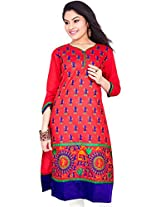 Rucchi By Praveen Women's Cotton-Silk Red Kurti