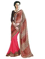 Faux Georgette Saree in Pink Colour for Party Wear