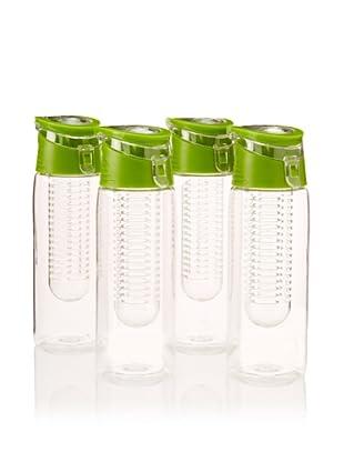 AdNArt Set of 4 Flavour-It Fruit Infuser Tritan Water Bottles, Green, 20-Oz.
