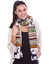 Simplicity Knitted Wraparound Scarf, Dees Pattern, Blue/Beige