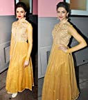 Deepika Padukone Yellow Semi Stitched Anarkali Suit At Chennai Express Promoting
