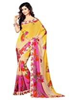Surat Tex Yellow & PInk Georgette Exclusive saris with Unstitched Blouse