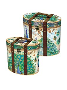 Punch Studio Set of 2 Nesting Oval Boxes with Metal Hinges (Peacock)