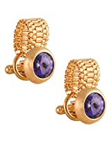 TRIPIN Golden Round Shaped Cufflinks With Purple Color Rivoli Stone With A Chain