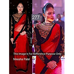 Aakriti Nikesha Patel Saree - Red