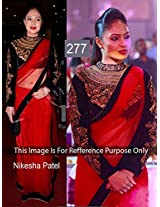 Bollywood Replica Nikesha Patel Net Saree In Red And Black Colour Nc370