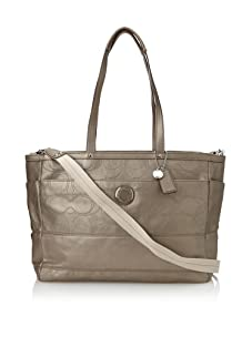 Coach Signature Stitched Metallic Baby Bag, Silver