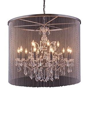 Urban Lights Brooklyn 15-Light Pendant Lamp, Mocha Brown/Royal Cut Crystal