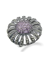 RiVi RiVi 1 CT Purple CZ & Marcasite Ring In Sterling Silver In Size 14 For Women - RIVR17479MS