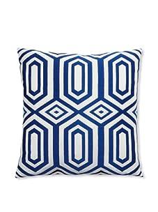 """Peking Handicraft Hexagon Embroidered Linen Pillow, Blue, 20"""" x 20"""""""