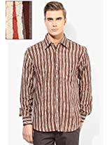 Beige Regular Fit Casual Shirt Woodblock By Manjeet Singh