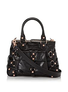 Ruthie Davis Women's Convertible Strappy Handbag (Black/Rosegold)