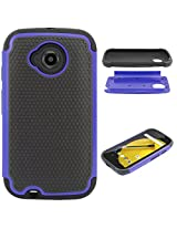 DMG Hybrid Dual Layer Armor Defender Protective Case Cover for Motorola Moto E 2nd Gen (Blue)