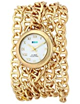 La Mer Collections Women's LMACWSAT001 Gold-Tone Chain-Link Wrap Watch