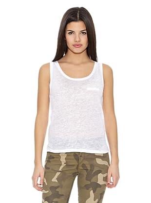Springfield Camiseta T Tir Lino Plana (Blanco)