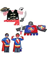 Melissa & Doug Pirate, Super Hero and Knight Costume Role Play Set of 3