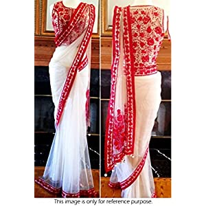 Bollywood Style Model Pure Net Saree In White Colour NC821