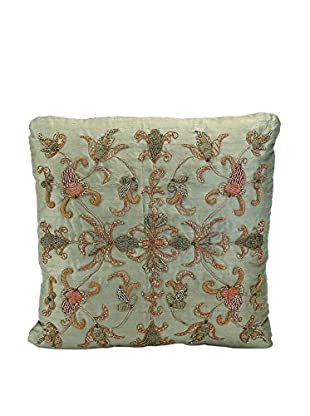 John Richards Collection Moss Green Embroidered Square Pillow