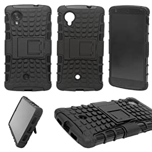 Firm Grip Hybrid Rubberized Hard Back Cover Stand Case for LG Google Nexus 5 + Bonus DMG Wristband - Black