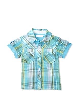 TroiZenfants Boy's Plaid Shirt (Teal)