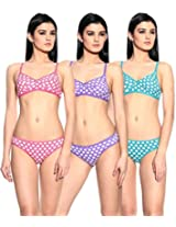 Ultrafit Pack of 3 Cotton Two Piece Lingerie Set