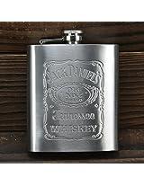 Jack Daniel Design Embossed 9 Oz (265 Ml) Stainless Steel Hip Flask - Alcoholic Beverage Holder