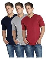 Blackburne Inc Men's V-neck T-Shirt Pack of 3 Navy Grey Red ( S )