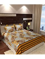 Home Candy 144 TC Elegant Cotton Double Bedsheet with 2 Pillow Covers - Mustard Yellow (CTN-BST-337)