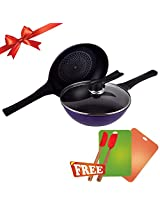 Wonderchef Diamond Coated Induction Base Pan Set with Free Gifts, 3-Pieces