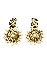 FIDA Traditional Gold Heavy Drop Earring with Enamel & Pearls