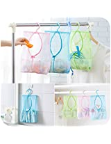 1PC Multi-purpose storage bag can be hanging, clothespin bags kitchen bathroom multi-subnet Bag( Colour: (Pink)