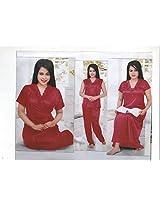 Indiatrendzs sexy Sleepwear hot Nighty for Women honeymoon 4pc Set -Freesize
