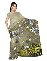 Sonal Trendz Grey Color Printed Georgette Saree with Blouse