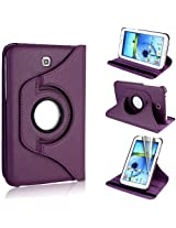 AE 360 Rotating PU Leather Stand Case For Samsung Galaxy Tab3 7.0 P3200 Purple