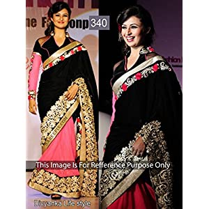 Black & Peach Colored Traditional Bollywood Replica Divyanka Tripathi Velvet and Georgette Saree by Hari Krishna Sarees