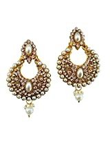 Lalso Gold Plated Designer Stylish White Pearl Earrings For Wedding, Diwali, Festival, Navratri, Party, Gift - LAE18W