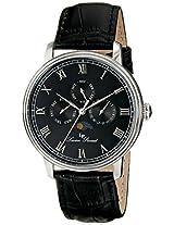 Lucien Piccard Men's LP-10527-01 Moubra Black Dial Black Leather Watch