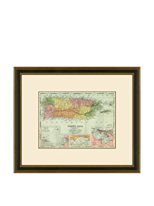 Antique Lithographic Map of Puerto Rico, 1886-1899