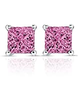 Be You Silver Plated Synthetic Pink Saphhire Solitaire Stud Earrings