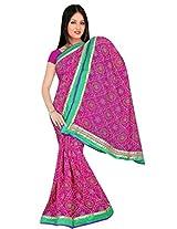 Kala Sanskruti Chiffon And Art Silk Bandhej Design Saree With Work [KSA3XI-45_Pink]