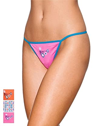 Princesa Pack x 3 Tangas Tira Triplete Algodón (Naranja / Azul / Rosa)