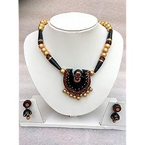 Anikalan Designs Black Shield Terracotta Necklace Set
